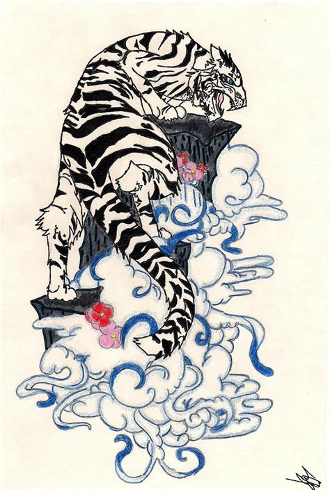 traditional japanese style tiger drawing  crisol campos