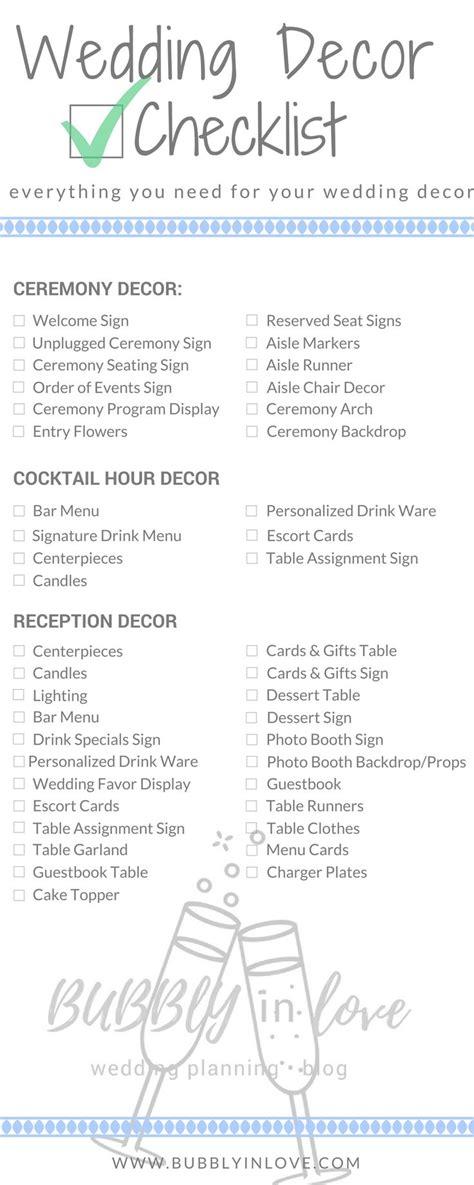 wedding decor checklist     plan