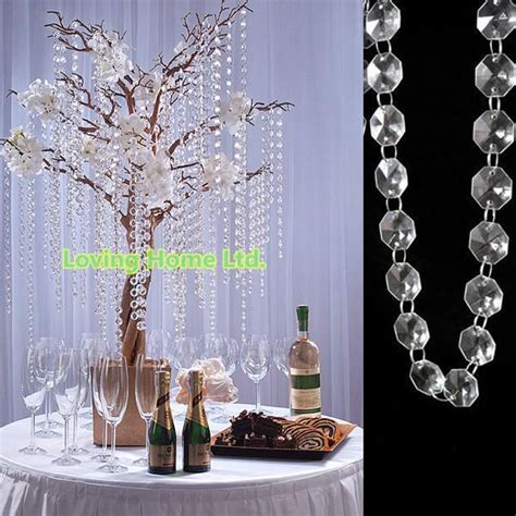 33 Ft Diy Octagonal Plastic Crystal Beaded Garland Strands