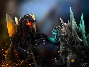 Godzilla VS Spacegodzilla by franeres on DeviantArt