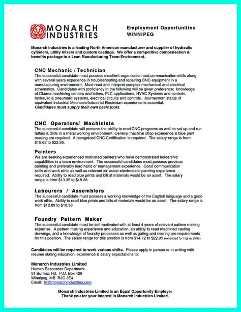 Machinist Resume by Writing Your Qualifications In Cnc Machinist Resume A Must