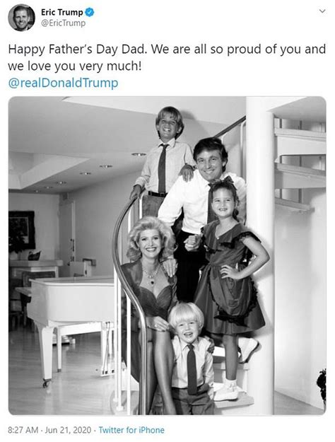 trump donald father eric president jr ivanka mother siblings his ivana happy smiling tributes don dad today touching fathers shared