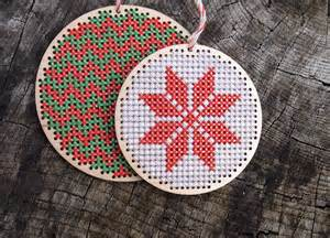 cross stitch wooden christmas ornament kit by the bellwether notonthehighstreet com