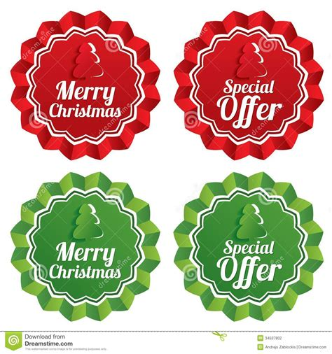 merry christmas special offer price tags stock vector image 34537802