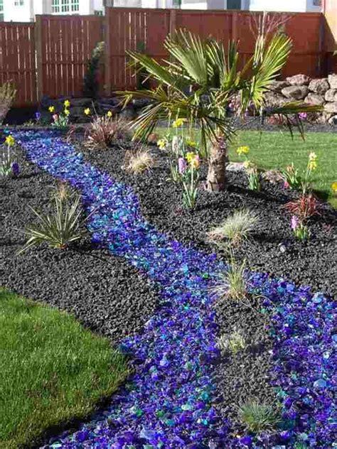 blue colored landscape rocks front yard ideas garden