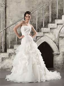 strapless organza fit and flare wedding dress with chapel With chapel train wedding dress
