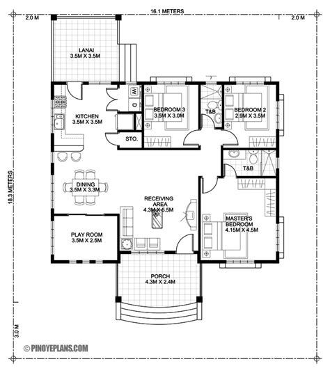3 Bedroom Floor Plan In Philippines by Three Bedroom Bungalow House Design Eplans
