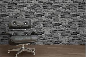 Papier Peint Brique Gris : papier peint pierre de parement grise papiers peints ~ Dailycaller-alerts.com Idées de Décoration