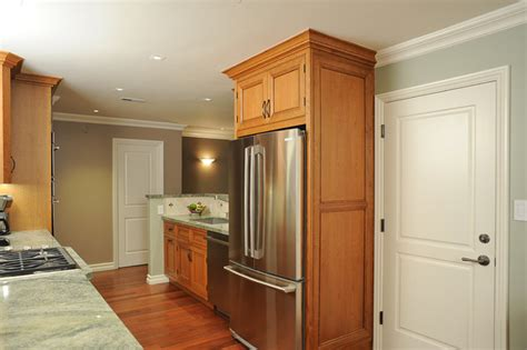 Enclosed Refrigerator With Door Style Panels Traditional