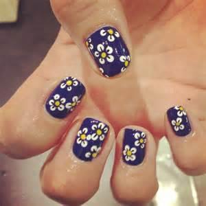 Dark nail designs simple blue daisy nails