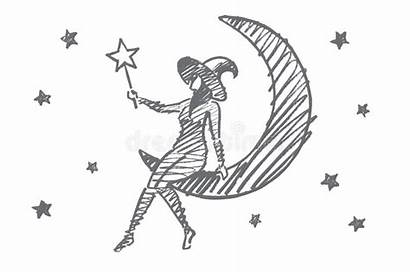Sitting Moon Sketch Magic Hand Stars Vector