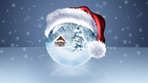 Animated Snow Globe Wallpaper - tree santa claus hat winter snow globe