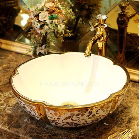 Gold Vessel Sink Luxury Ceramic Hot Stamping Floral