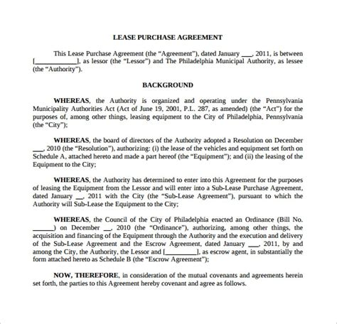 sample lease purchase agreement templates