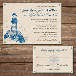 printable lighthouse wedding invitation with rsvp card With wedding invitations with lighthouse