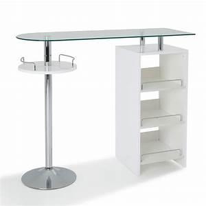 Table Bar Avec Rangement : table bar avec rangement coloris blanc maison et styles ~ Teatrodelosmanantiales.com Idées de Décoration