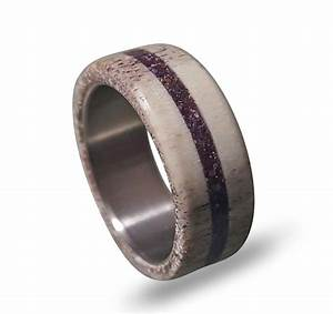 deer antler wedding band antler ring with ametyst inlay With antler wedding rings