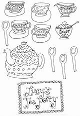 Coloring Tea Party Pages Adult Printable Patterns Teapot Colouring Sheets Coffee Afternoon Clipart Princess Alice Library Embroidery Parties Printables Birthday sketch template