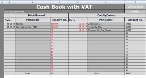 cash book  vat excel template   excel