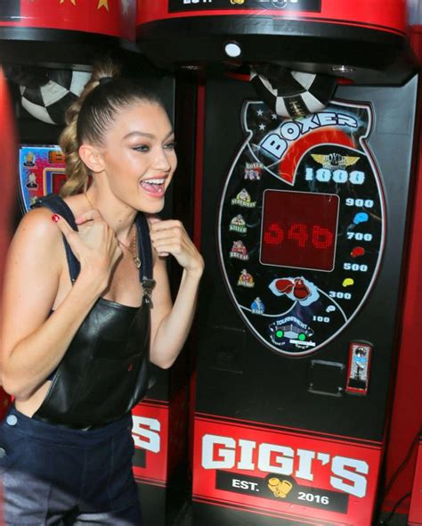 Pier Boxing by Gigi Hadid Punches A Punch Boxer Machine At Tommy Pier In