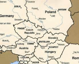 Central Europe Map with Cities