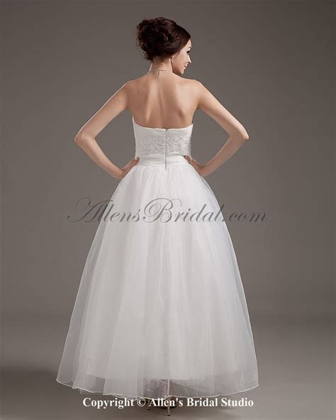 ankle wedding dress allens bridal satin and organza ankle length