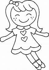 Coloring Cute Dolly Clip Doll Clipart Sweetclipart sketch template