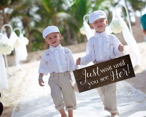 just wait until you see ring bearer sign rustic here comes the sign wait until you see