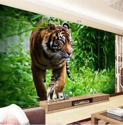 Tiger 3d Jungle Wall Murals Orange Wallpapers