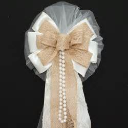 ivory burlap lace pearls rustic wedding bows pew church