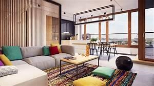 decorer un salon avec un tapis et coussins colores With tapis de souris personnalisé avec canapé design coloré