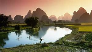 Nature, Landscape, Mountain, Hill, Trees, Forest, Water, Sky, Vietnam, Asia, River, Boats, Men