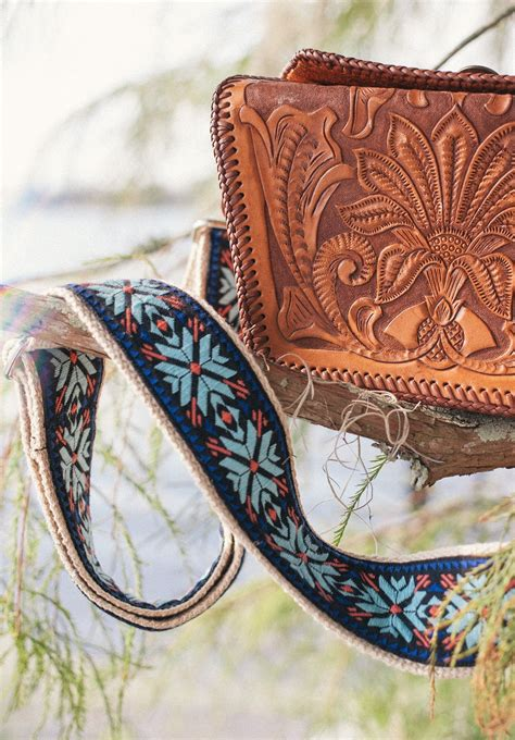 bohemian leather purse  custom guitar strap style mint indigo  coral strap handmade