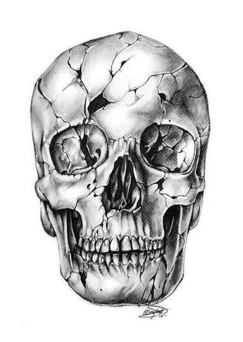 cracked skull tattoo sketch skulls pinterest tattoo sketches skulls  sketches