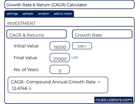 compound annual growth rate cagr calculator