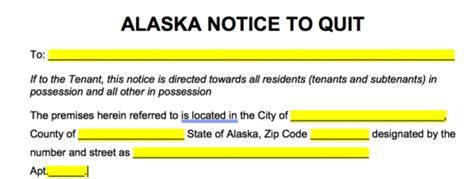 alaska eviction forms free alaska eviction notice forms notices to quit pdf
