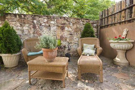 rustic patio with exterior floors fence in santa
