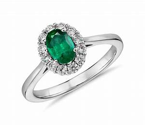 Emerald and diamond halo ring in 14k white gold 6x4mm for Emerald and diamond wedding ring