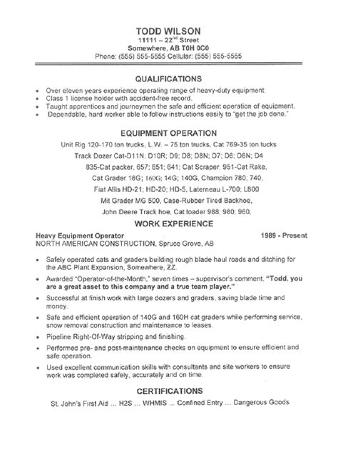 heavy equipment operator skills resume and equipment