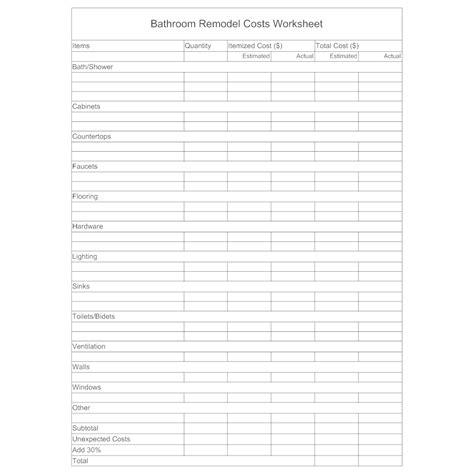 remodel worksheet bathroom