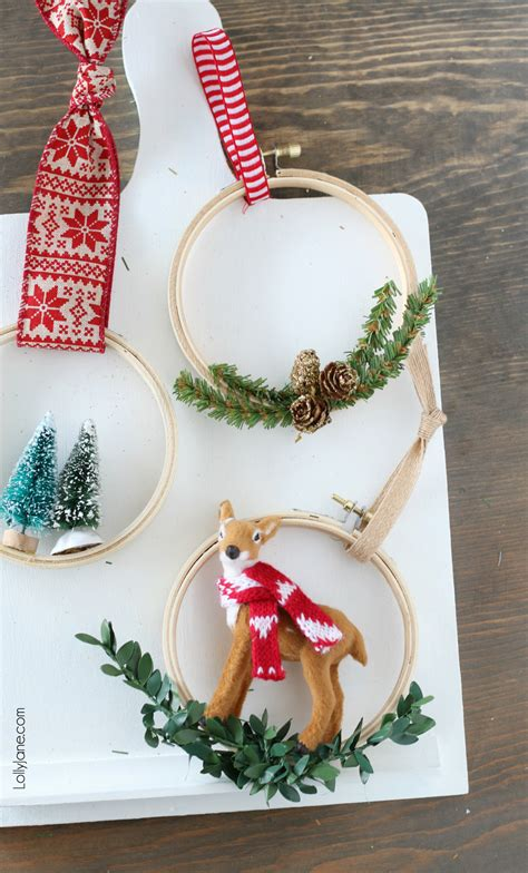 easy embroidery hoop christmas ornaments lolly jane