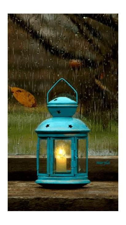 Rain Candle Gifs Lantern Storm Rainy Night