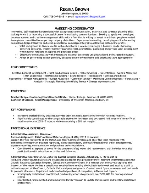 Marketing Specialist Resume Sle by Supply Chain Coordinator Resume Sales Coordinator Lewesmr