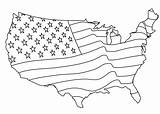 Flag Coloring Map States United America Around sketch template