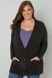 Black Button Up Cardigan With Two Pockets  Plus Size 16 To 36