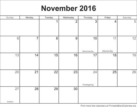 2016 calendar template november 2016 printable blank calendar printable blank calendar org