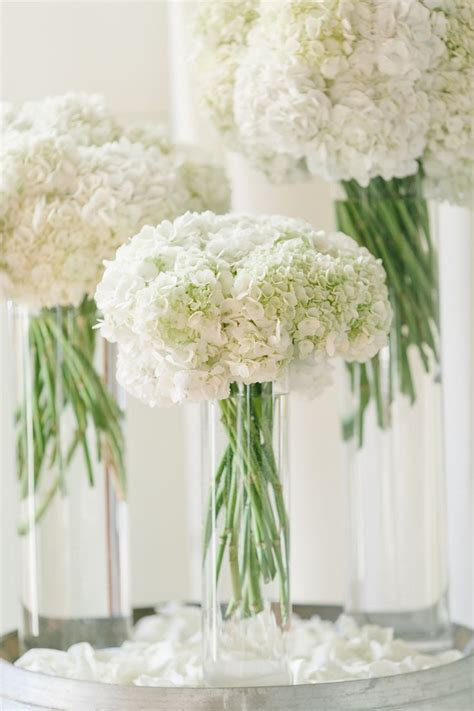 vases for wedding flowers all white wedding flowers white hydrangeas reception