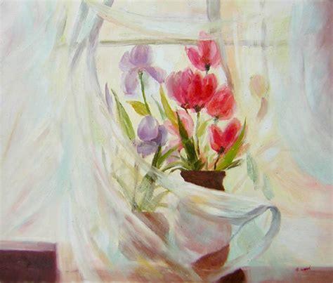 peinture de fleurs modernes peinture bouquet fleurs roses mauves tableau fleur