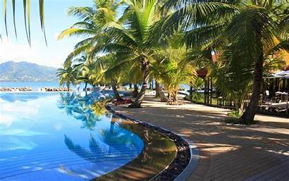 Peaceful Tropical Pool Desktop Widescreen Wide 1freewallpapers