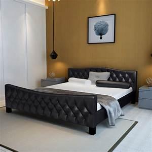 Lit En 180 : acheter luxueux lit en similicuir 180 x 200 cm noir pas cher ~ Teatrodelosmanantiales.com Idées de Décoration